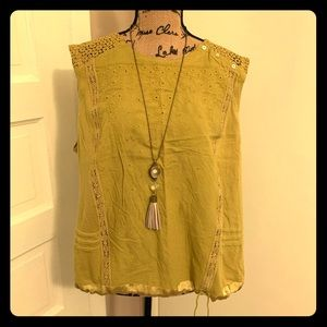 Anthropologie Tiny Embroidered Sleeveless Top